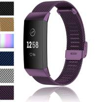 ANATYU Easy-Fit Metal Bands Compatible Fitbit Charge 3/ Fitbit Charge3 SE/Fitbit Charge 4/ Fitbit Charge4 SE, Replacement Wristbands for Women Men Small Large (Small, Purple)