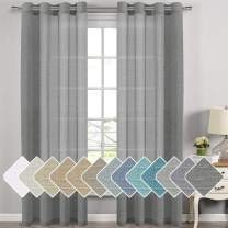 """H.VERSAILTEX Linen Curtain Panel Pair Extra Long 108"""" Long (2 Panels) Nickel Grommet Top Highly Durable Natural Linen Blend Soft Sheer Curtains for Living Room - Charcoal Grey Pattern"""