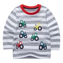 Sooxiwood Boys' T-Shirt Striped Car Long Sleeve