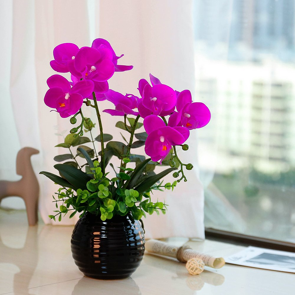 YILIYAJIA Artificial Phalaenopsis Orchid Bonsai with Ceramics Vase, Fake PU Real Touch Flowers Bonsai for Table Office Home Party Decoration (Style 1, Black Vase)