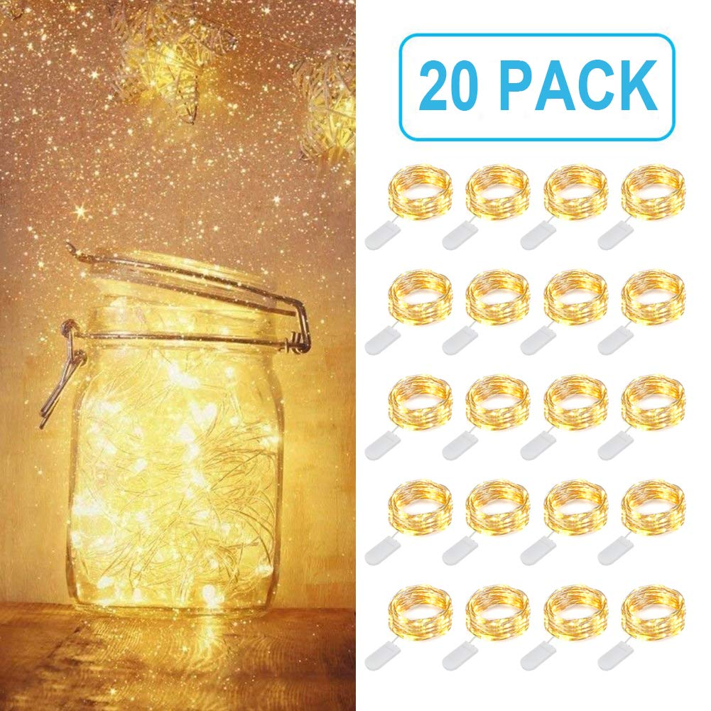 MUMUXI 20 Pack Fairy Lights Battery Operated, 3.3ft 20 LEDs Mini Waterproof String Lights Flexible Silver Wire Firefly Starry Lights for DIY Wedding Centerpiece Party Christmas Decorations,Warm White