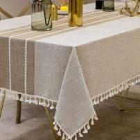 Deep Dream Tablecloths, Stitching Tassel Table Cloth,Cotton Linens Wrinkle Free Anti-Fading,Table Cover Decoration for Kitchen Dinning Party(Rectangle/Oblong, 55''x120'',10-12 Seats, Light Coffee)