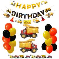 Construction Party Supplies Special Dump Truck Theme Happy Birthday Decorations Kits Set for Boys and Adults with 1 Pc Happy Birthday Banners,1 Pc Trucks Garland, 17 Balloons, 24 Pcs Cake Toppers, Signs, Decors(Set 65 Pcs)