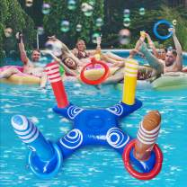 Inflatable Ring Toss Pool Game Toys with 4 Pcs Floating Swimming Pool Ring for Multiplayer Water Pool Game Outdoor Kid Family Pool Toys and Water Fun Floats Play Game Beach Party for Adults