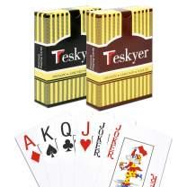 Playing Cards, 100% Waterproof Plastic Playing Cards, Poker Size, Large Print Jumbo Index, 2 Decks of Cards, Black+Orange