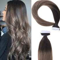 Lacerhair Remy Tape in Human Hair Extension Rooted Invisible Natural Hair Extension Dip Dyed Balayage Seamless PU Skin Weft 100% Real Virgin Human Hair Color Double Side 50g 20pcs/set (14 inch, T#2/6)