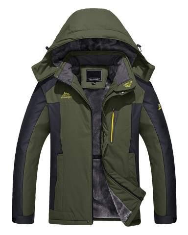 TACVASEN Men's Outdoor Jackets Winter Waterproof Windproof Ski Snowboard Fleece Lined Jacket Hooded