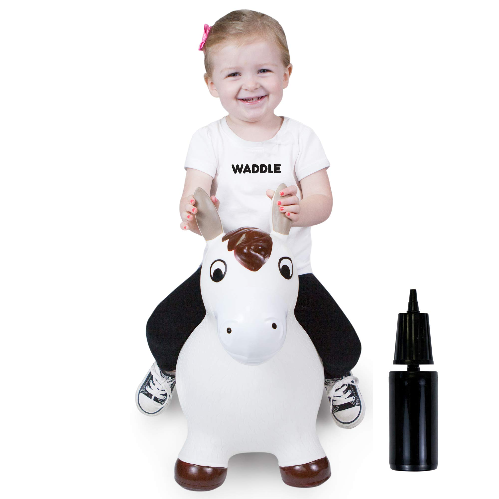 WADDLE Bouncy Horse Hopper for Toddlers Brown White Inflatable Jumping Horse Unisex Ride on Rubber Bouncing Animal Toys for Kids/ Toddlers/ Children/ Boys/ Girls | Hopping Pony Bouncer