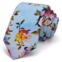 Kingdom Secret Men's Skinny Floral Tie Cotton Necktie. Great for Wedding Groom Groomsmen Missions Dances Gift