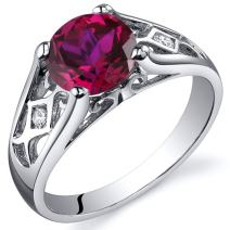 Created Ruby Cathedral Ring Sterling Silver Rhodium Nickel Finish 1.75 Carats Sizes 5 to 9