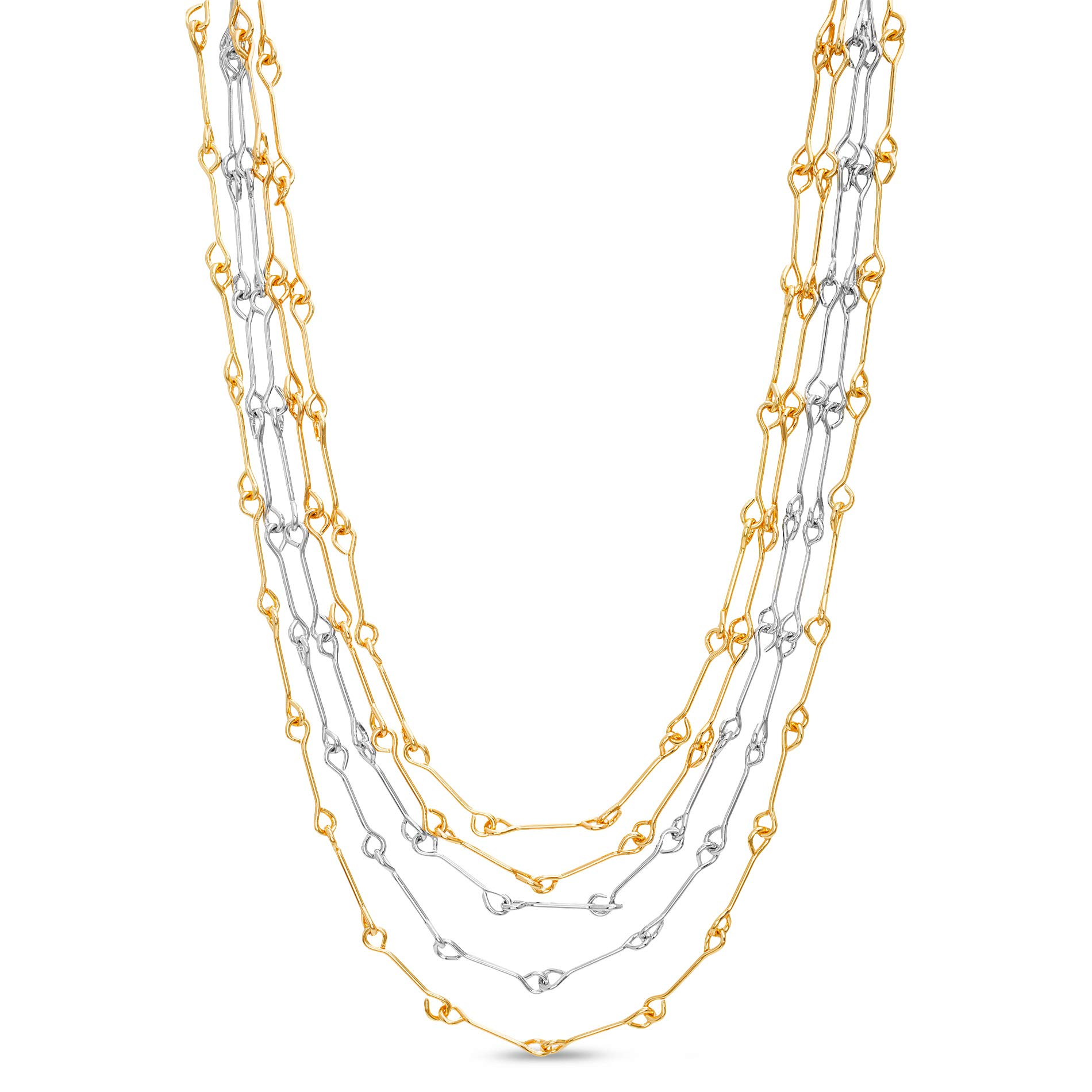 CATHERINE MALANDRINO Two-Tone Bar Link Layered Statement Necklace for Women