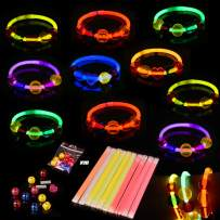 FUN LITTLE TOYS Glow Bracelets for Easter Egg Fillers, Easter Egg Stuffers, Kids Easter Party Favors, Goodie Bags (20PCs Glow Sticks and 100PCs Jewelry Beads)