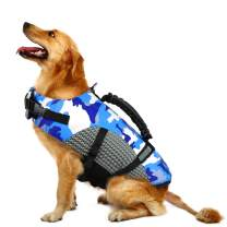 MIGOHI Dog Life Jacket Ripstop Pet Floatation Safety Vest Adjustable Swimsuit Reflective Preserver with Rescue Handle for Swimming and Boating Small, Medium, Large Dogs, Blue, M