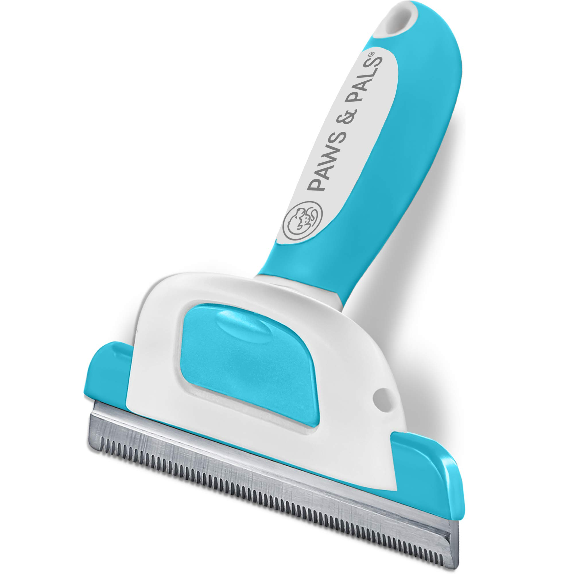 Paws & Pals Dog Brush - Gentle Soft Hair Rake Trimming Comb - Best for Shedding Dogs-Cats, Thick Long Short Haired Pet, Coat Grooming & Cat Hair Fur Removal - Self Cleaning - Deshedding Supplies