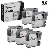 LD Compatible Ink Cartridge Replacement for Brother LC103BK High Yield (Black, 5-Pack)