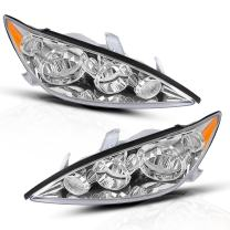 DWVO Headlight Assembly Compatible with 2005 2006 Toyota Camry LE XLE Chrome Housing Amber Reflector