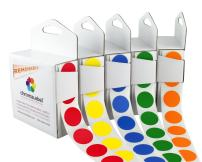 Removable Color-Code Dot Label Kit   5 Assorted Standard Colors   1000/Dispenser Box (3/4 inch)