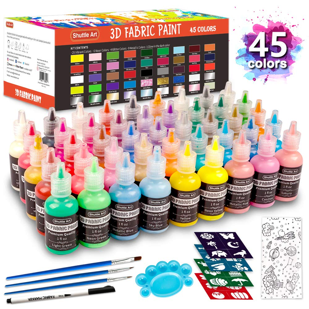Fabric Paint Set, Shuttle Art 45 Colors 3D Permanent Paint with Brushes Palette Fabric Pen Fabric Sheet Stencils, Glow in The Dark, Glitter,Metallic Colors for Textile Fabric T-shirt Jeans Glass