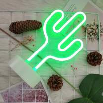 GUOCHENG Cactus Neon Lights Led Neon Night Light Wall Table Decor Battery Operated Creative Lighting Lamp Home Decoration Party Decoration Gift for Kids (Green Cactus)