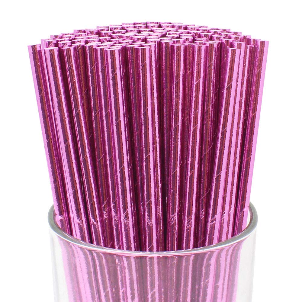 Just Artifacts 100pcs Premium Biodegradable Solid Paper Straws (Solid, Metallic Baby Pink)