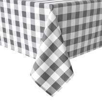 Hiasan Checkered Tablecloth Rectangle - Stain Resistant, Waterproof and Washable Table Cloth Gingham for Outdoor Picnic, Holiday Dinner, 60 x 102 Inch, Grey and White