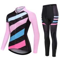 AIPEILEI Women's Cycle Jersey Long Sleeve Road Bike Mountain Riding Wear Full Zip