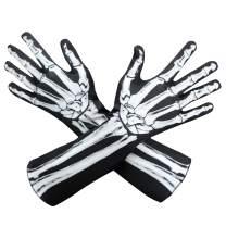 AXBXCX Skeleton Full Finger Wrist Bone Gloves Halloween Long Arm Length Dance Gloves
