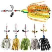 OROOTL Spinnerbait Fishing Lures Kit Set, 6pcs Buzzbaits Hard Metal Jig Spinner Lures for Bass Musky Pike Salmon Trout Fishing