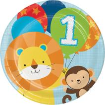 Creative Converting 324594 96Count Sturdy Style Dinner/Large Paper Plates, One is Fun- Boy, One is Fun - Boy