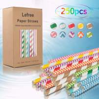 Biodegradable Plasticless Flexible Drinking Straws,250 Packs 100% Plant Based Compostable Straws