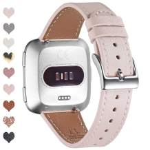OMIU Bands Compatible with Fitbit Versa/Versa 2/Versa Lite/Versa SE for Women and Men, Classic Soft Leather Strap Replacement Wristband for Fitbit Versa Smart Fitness Watch (Pink Sand/Silver)