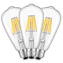 CRLight 6W LED Edison Bulb 3200K Soft White 70W Equivalent 700 Lumens Dimmable, E26 Medium Base Vintage Edison Style ST64 Clear Glass LED Filament Light Bulbs, Pack of 3