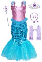 MetCuento Little Girls Mermaid Costume Princess Dress Up Mermaid Tail Fancy Party Cosplay Birthday Outfit Accessories