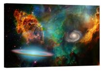 LightFairy Glow in The Dark Canvas Painting - Stretched and Framed Giclee Wall Art Print - Space Outerspace Nebula - Master Bedroom Living Room Decor - 6 Hours Glow - 36 x 24 inch