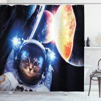 """Ambesonne Space Cat Shower Curtain, Kitten with Space Suit Planets Nebula Supernova Eclipse Artwork, Cloth Fabric Bathroom Decor Set with Hooks, 84"""" Long Extra, Dark Blue"""
