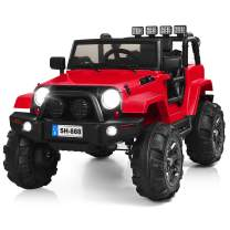 Costzon Ride On Truck, 12V Battery Powered Electric Ride On Car w/ 2.4 GHZ Bluetooth Parental Remote Control, LED Lights, Double Open Doors, Safety Belt, Music, MP3 Player, Spring Suspension (Red)