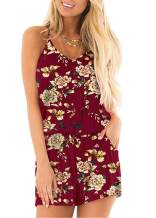 ACEFAST INC Women's Summer Cami Short Jumpsuit Loose V Neck Spaghetti Strap Rompers