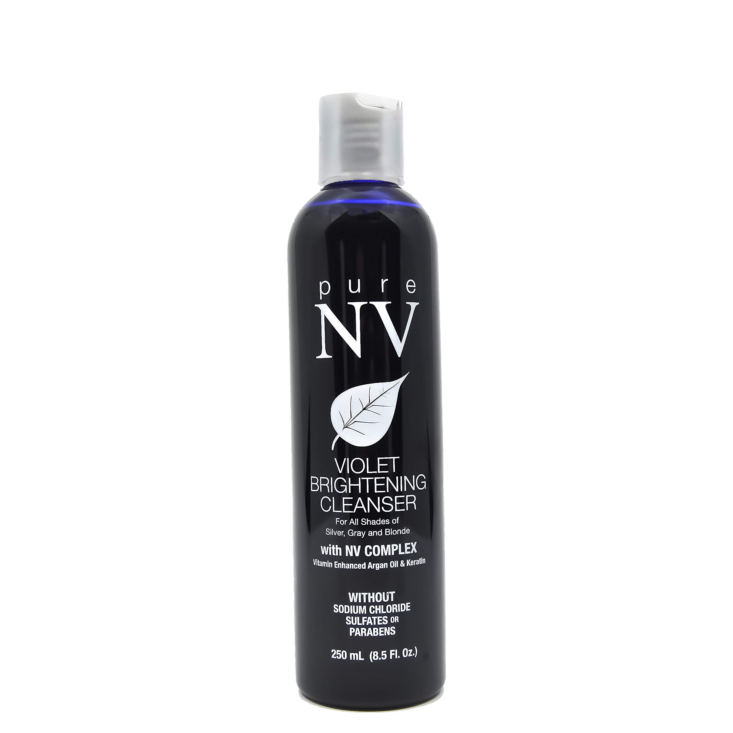 Pure NV Violet Brightening Cleanser- Brightens & Tones Blonde, Silver, & Gray Tones to Prevent Brassiness Infused with Keratin, Collagen & Argan Oil Sulfate & Sodium Chloride Free 8.5 oz
