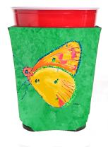 Caroline's Treasures 8857RSC Butterfly on Yellow Red Solo Cup Beverage Insulator Hugger, Red Solo Cup, multicolor