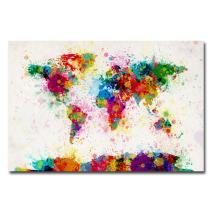 Paint Splashes World Map by Michael Tompsett, 16x24-Inch Canvas Wall Art