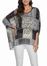 Bemawe 2020 New Pattern Womens Floral Print Batwing Top Chiffon Poncho Summer Casual Loose Sheer Shirt Blouse Tunics