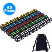 AUSTOR 50 Pcs Dice Set 6 Sided Rounded Edges Black Dice with Colorful Pips with a Free Storage Bag