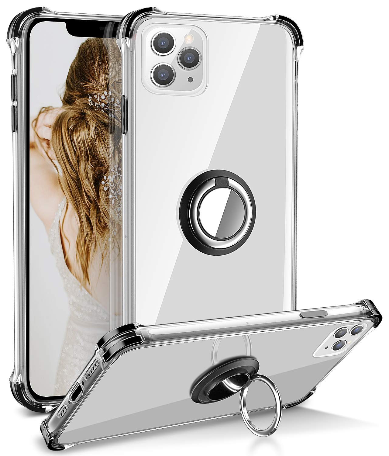 iPhone 11 Pro Case, Daupin Clear iPhone 11 Pro Case with 360 Rotatable Ring Kickstand Fit Metal Car Mount and Soft TPU Bumper PC Hard Back Protective Phone Case for iPhone 11 Pro 5.8 inch(Black)