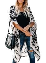 Arainlo Women's Printed Fashion Kimono Tassel Casual Beach Loose Cover Up