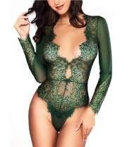 Women Sexy Lingerie Long Sleeve Bodysuit Lace Deep V Bodysuit Lingerie Sheer Teddy Lingerie