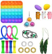 Ma.Lina.Ann Fidget Toys Set, Stress Relief Cheap Sensory Toys for Kids Adults, Simple Dimple Figetget Toys, Anti-Anxiety Tools, Fidgeting Game Kill Time (Square 22Pcs)