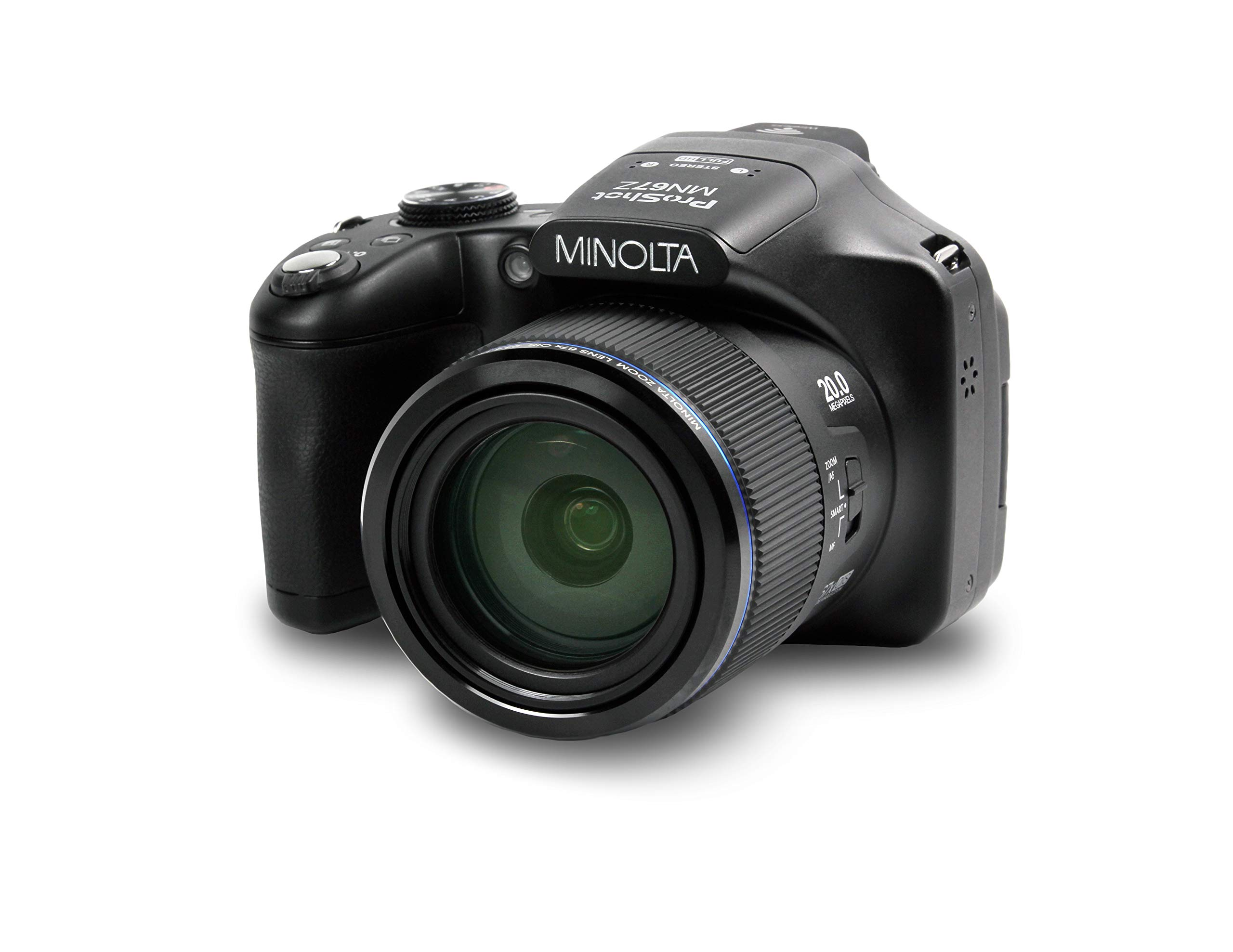 Minolta Pro Shot 20 Mega Pixel HD Digital Camera with 67X Optical Zoom, Full 1080P HD Video & 16GB SD Card, Black