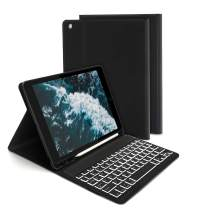 Jelly Comb Backlit Keyboard Case for iPad 10.2 2019(7th. Gen)/iPad Air 3/iPad Pro 10.5, Wireless Detachable Bluetooth Keyboard with Protective Cover/Pencil Holder for iPad 2019 10.2 Inch, Black