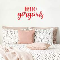 """Vinyl Wall Art Decal - Hello Gorgeous - 11"""" x 23"""" - Beautiful Chic Cursive Home Apartment Bedroom Living Room Decor - Modern Cute Femme Office Workplace Mirror Window Door Quote (11"""" x 23"""", Red)"""