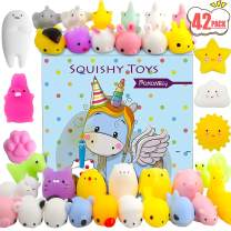 POKONBOY 42 Pack Mochi Squishy Toys Squishies, Cat Panda Unicorn Squishy Mini Kawaii Squishies Birthday Party Favors Cute Animals Stress Relief Toys Carnival Prizes for Kids Easter Egg Fillers